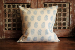 Block Print cushion with blue paisley